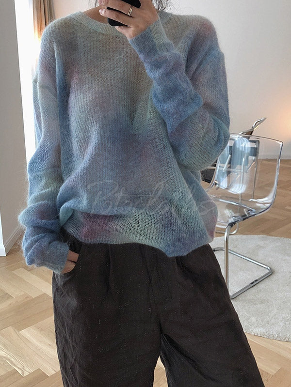 Loose Tie-dyed Mohair Knitting Sweater