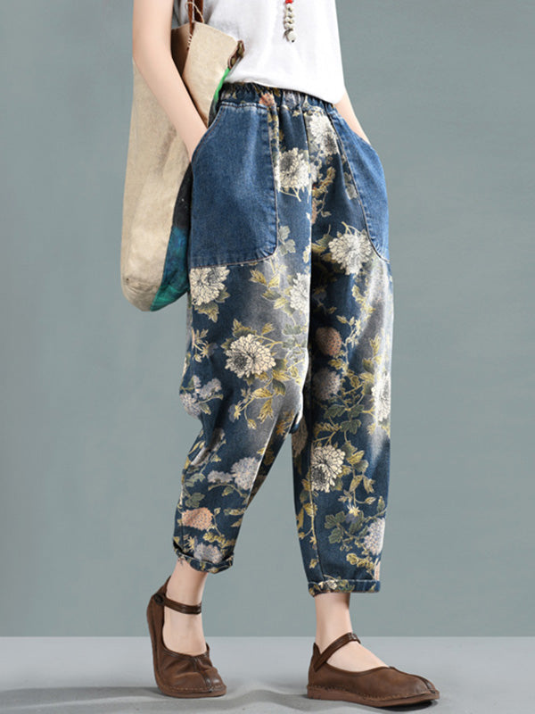 Retro Floral Embroidered Harem Pants