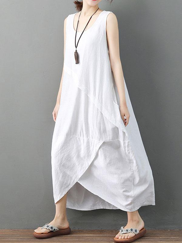 Black&White Ramie Cotton Cropped Long Dress