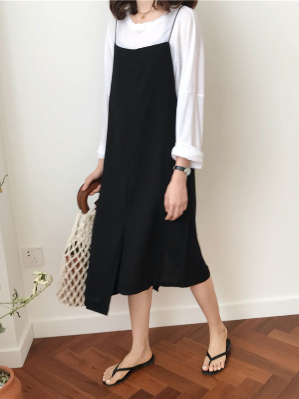 Cropped Split-front Simple Midi Dresses