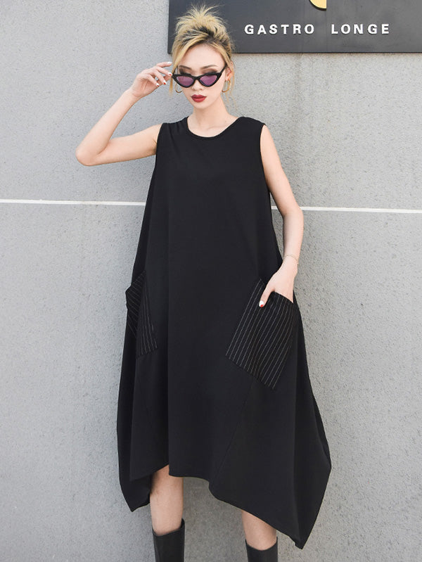 Plus Size Sleeveless Big Pocket Midi Dresses