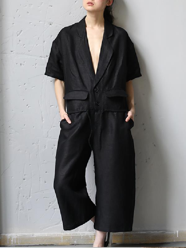 Urban Black Deep V-neck Lapel Suit Jumpsuit