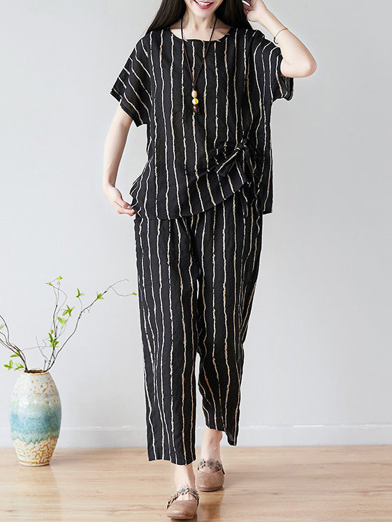 2019 Summer New Oversize Striped Casual Pants Suit