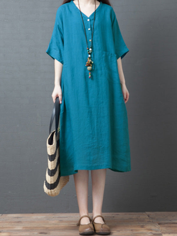 Loose Ramie Cotton Long Dress