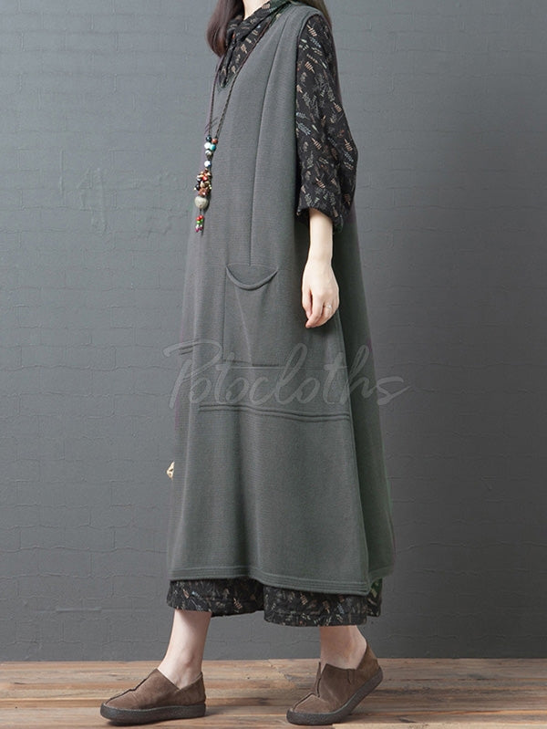 Loose Sleeveless V-neck Knitting Vest Dress