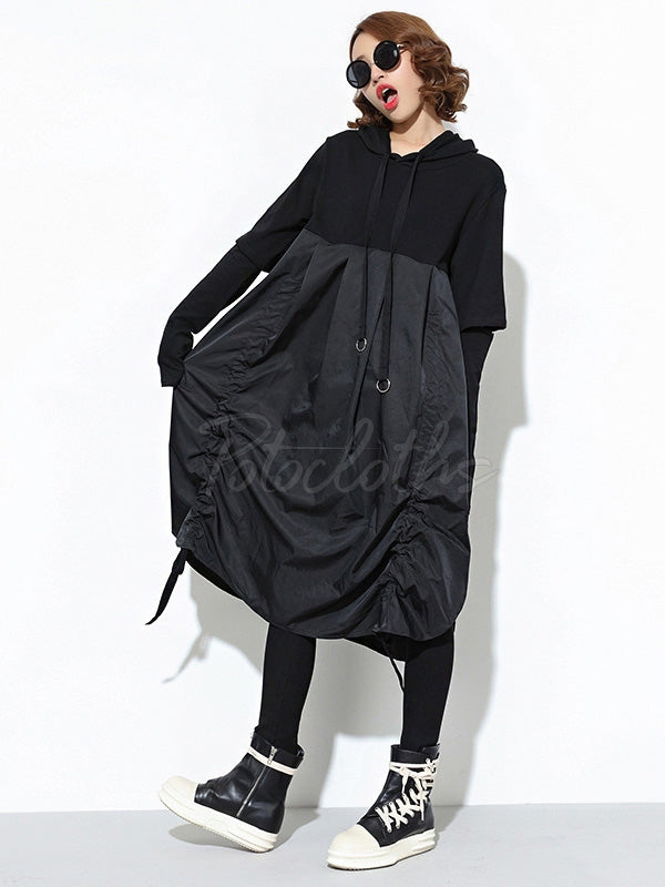 Loose BF Style Hooded Long Shirt Dress