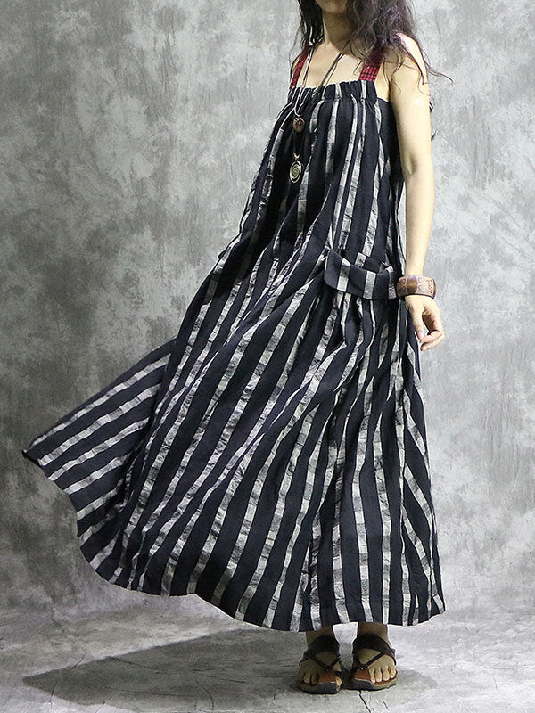 Linen Stripe Long Suspender Dress