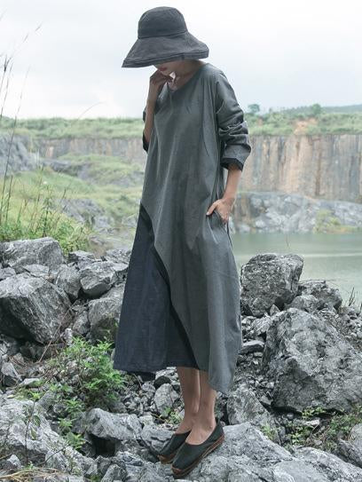 Loose Split-joint Long Linen Dress