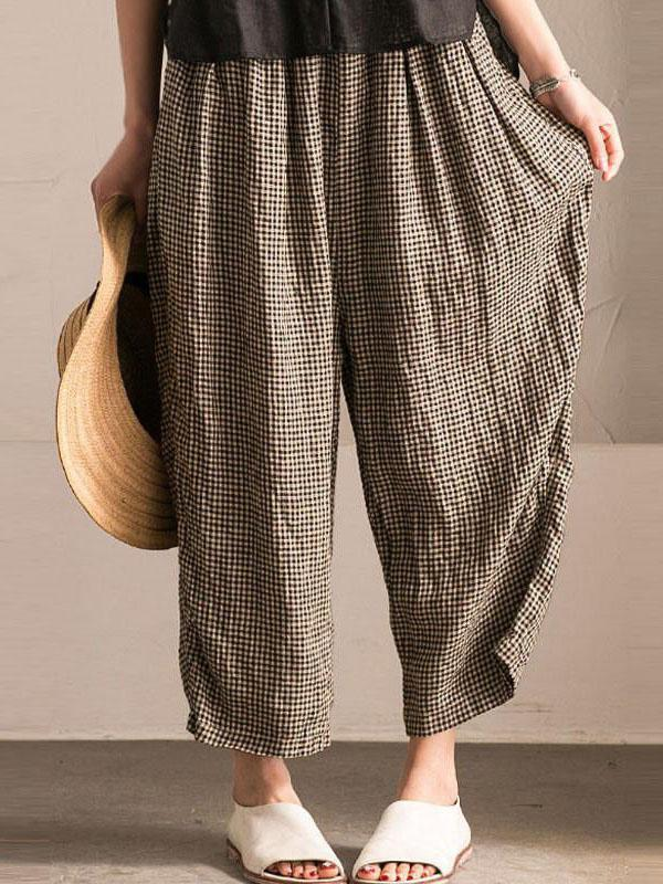 Little Grid Casual Comfortable Cotton Pants