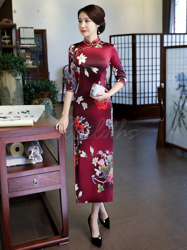 Floral Printed Silk Improved Long Cheongsams