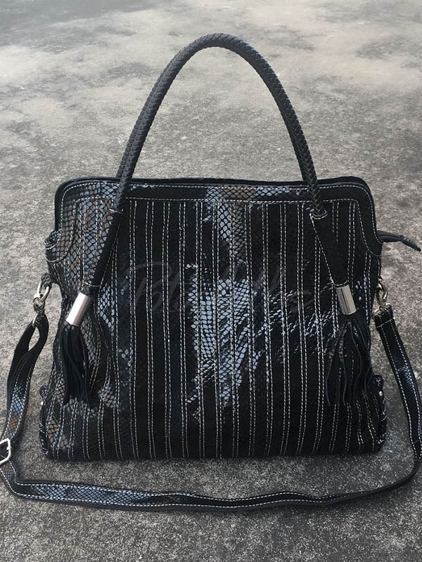 Split-joint Striped Shoulder Sling Leather Bag