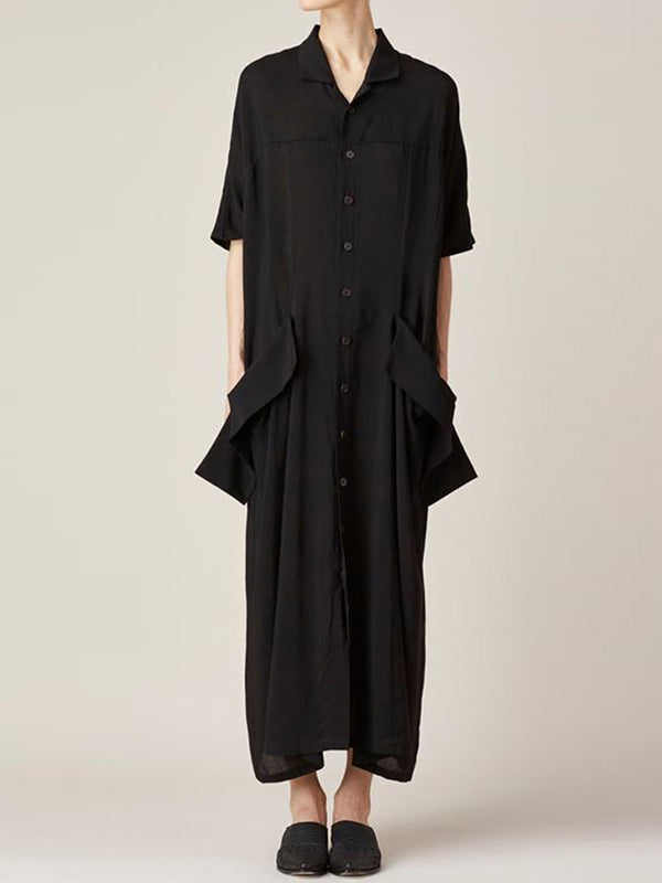 Loose Big Pocket Long Shirt Dress