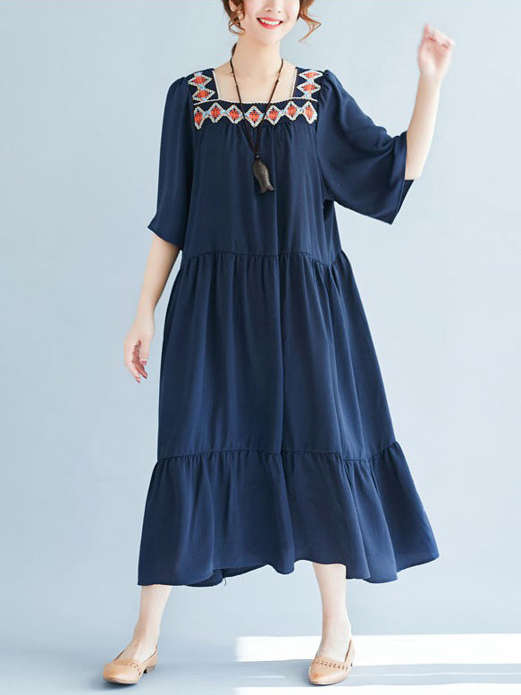 2019 Summer New Loose Embroidery Falbala Dress