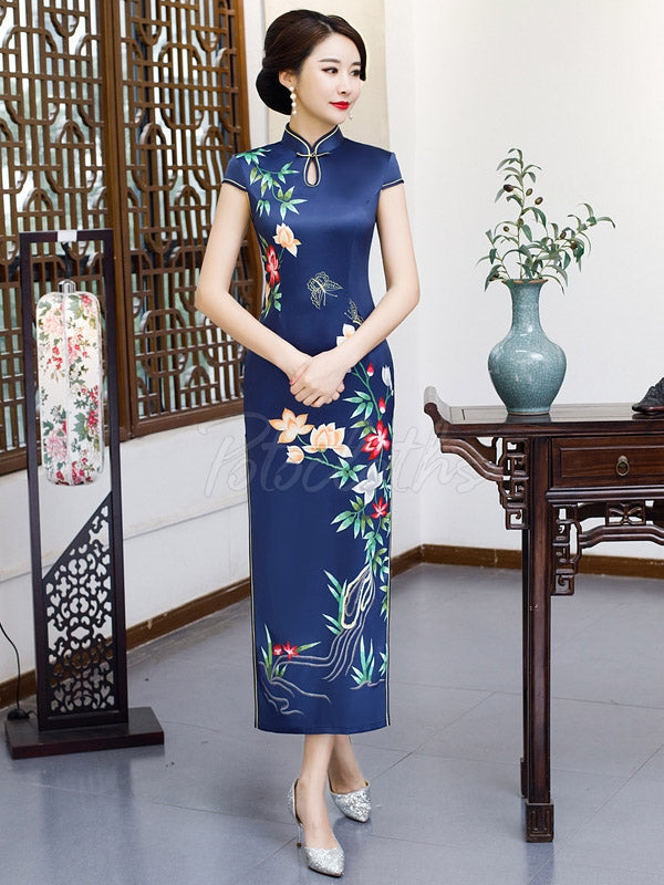 Vintage Floral Printed Silk Long Cheongsams