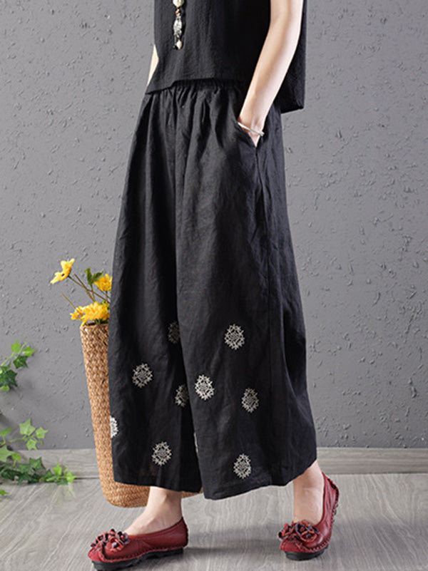 Loose Wide-leg Flower Embroidered Pants