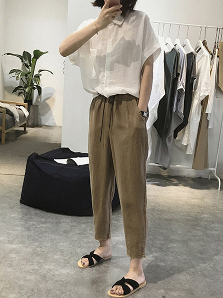 Ramie Cotton Plus Size Strap Loose Harem Pants