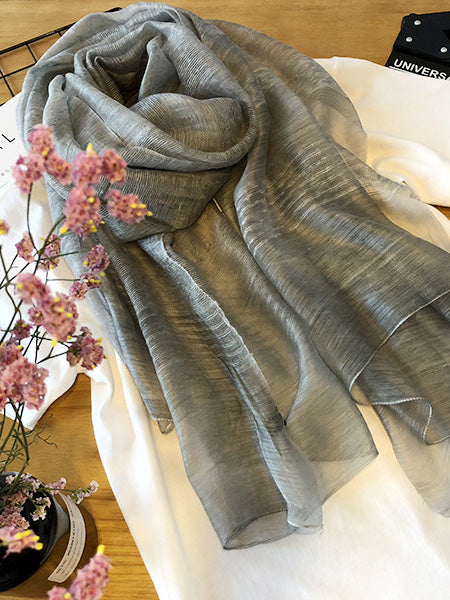 Silk Solid Vintage See-through Fashion Scarf