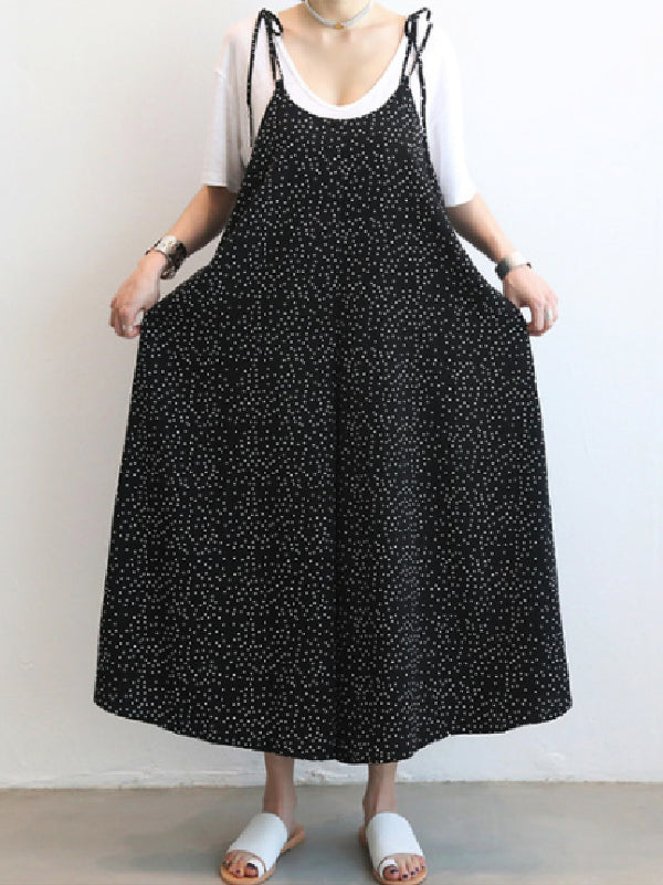 Loose Comfortable Polka-Dot Print Jumpsuit