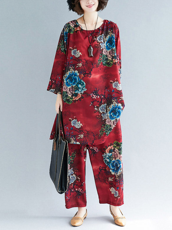 Loose Flower Print Round-neck T-shirt+Pants Suits