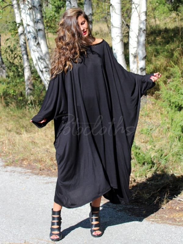 Super Loose Batwing Sleeves Midi Dress