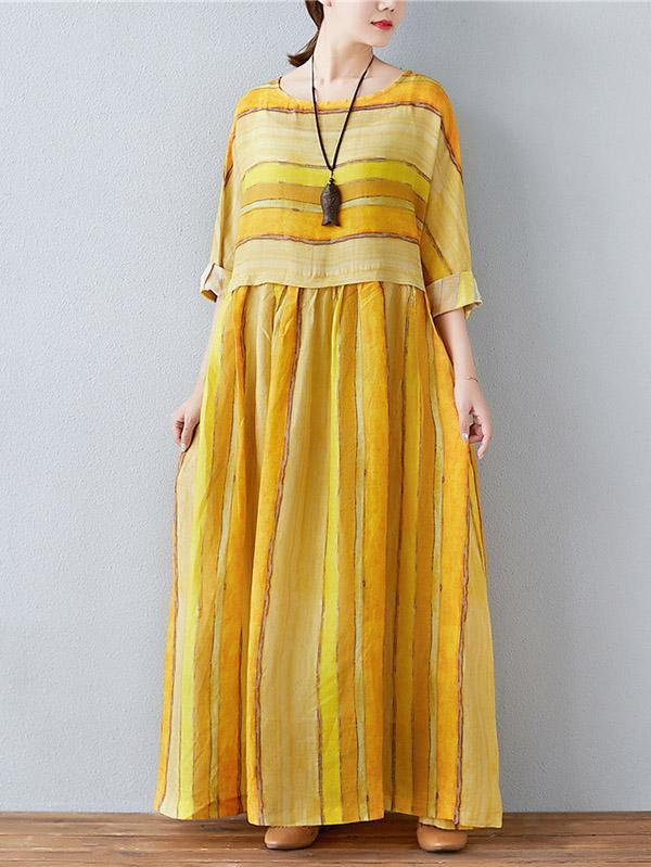 Fresh Yellow Stripe Long Dress