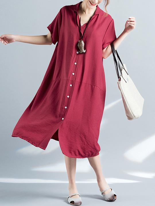 Loose Pure color Comfortable Long Shirt Dress