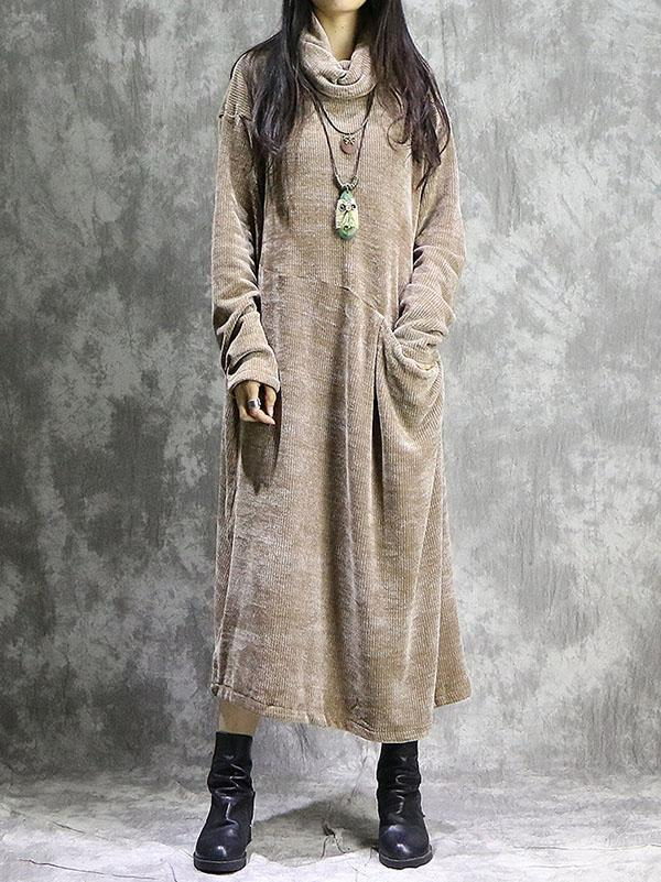 Loose Vintage Split-joint With-pockets Long Dress