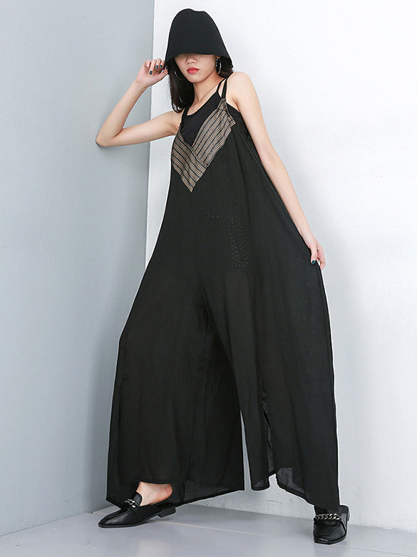 Loose V-neck Wide-leg Jumpsuits