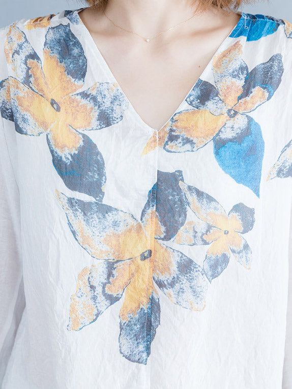 Loose Plus Size Flower Printed Blouse Tops