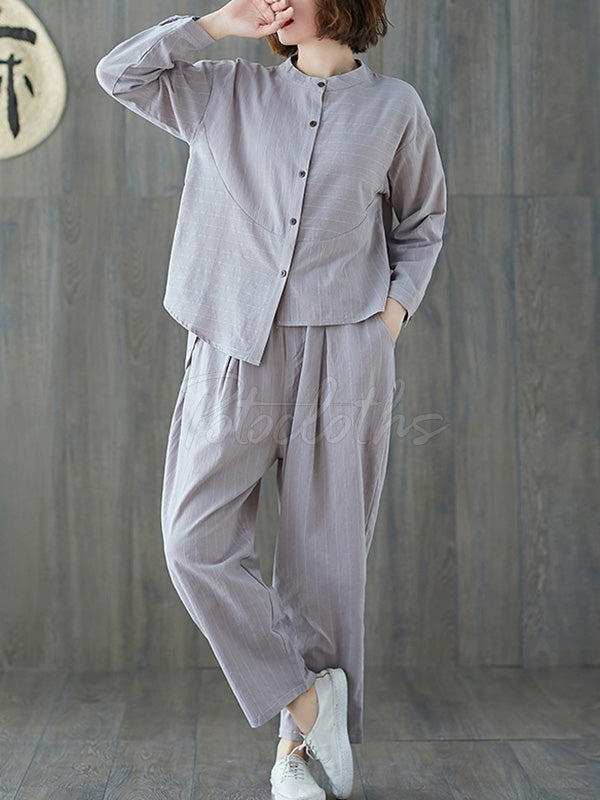 Loose Striped Comfortable Cotton Suits