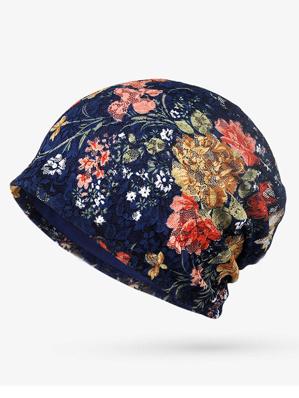 Lace-paneled Floral All seasons Hood