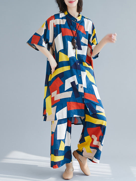 Casual Colorful Cube Printed Suits