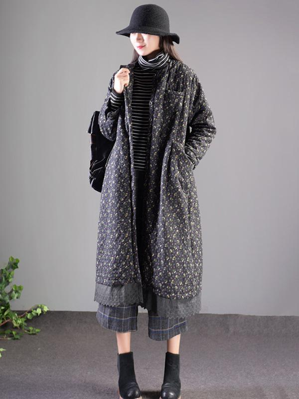 National Style Floral Thicken Long Outwear
