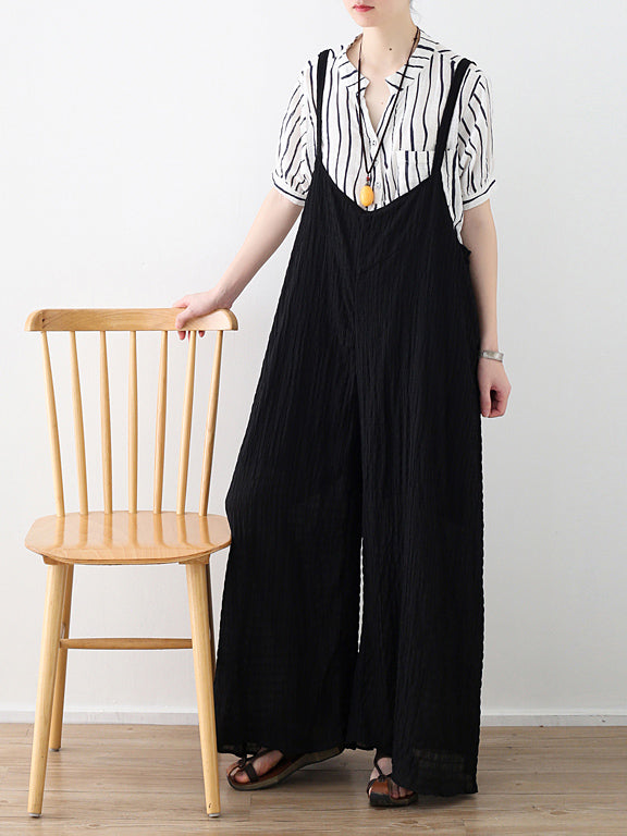 Loose Black Wide Leg Jumpsuits