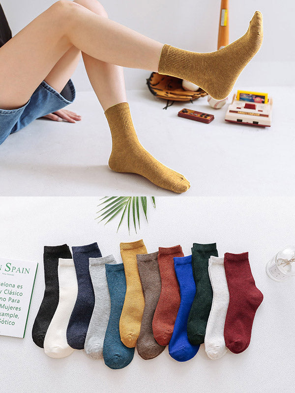 Solid Color Breathable Cotton Socks