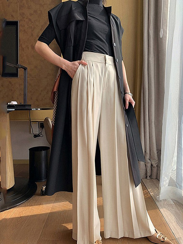 Loose Solid Wide Leg Bottoms