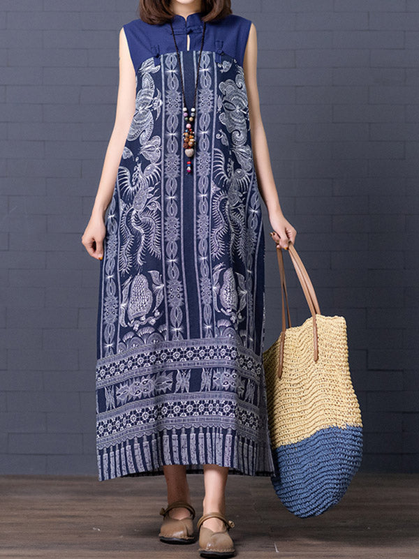 Loose National Style Sleeveless Long Dress