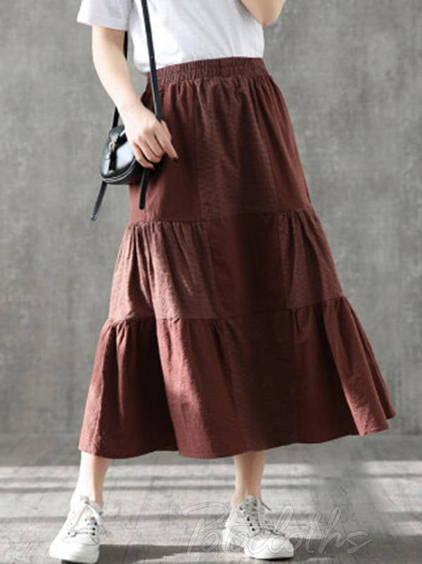 Vintage Loose A-Line Splicing Skirt