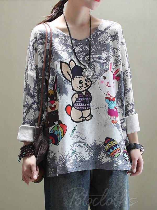 Ethnic Style Cartoon Print Loose Round Neck Sweater