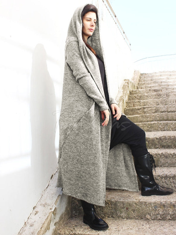Loose Gray Split-Joint Long Outwear