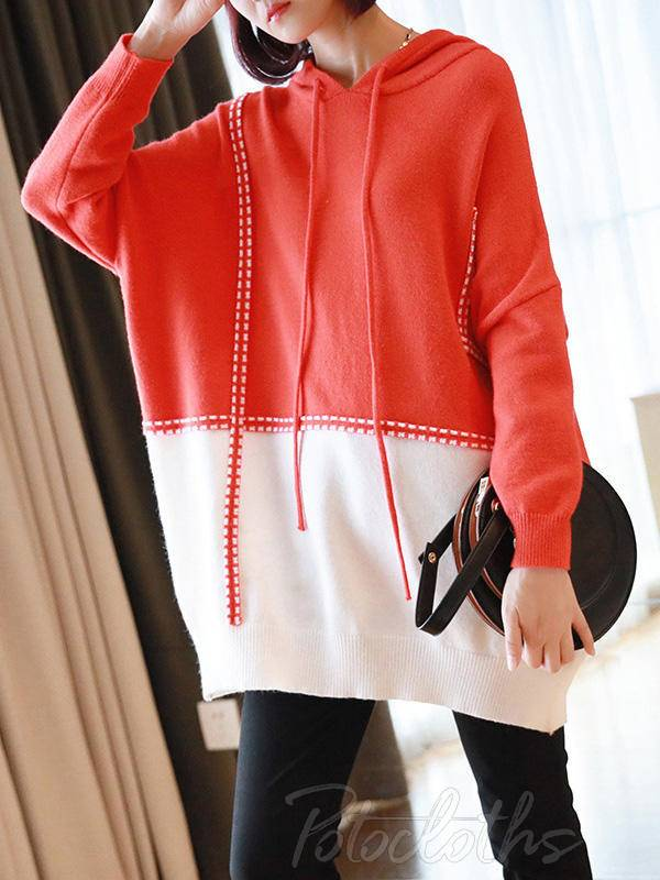 Loose Contrast Color Knitting Sweater