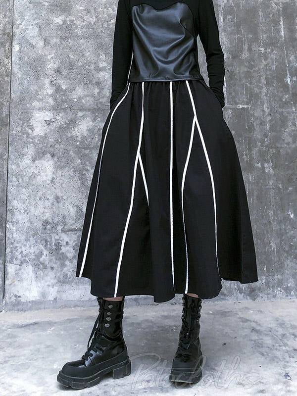 Vintage A-Line High-Waist Striped Skirt