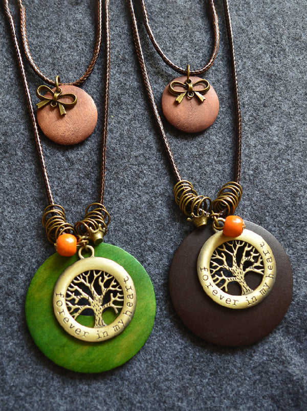 Wood Two-Pieces Tree&Bowknot Pendant Necklace