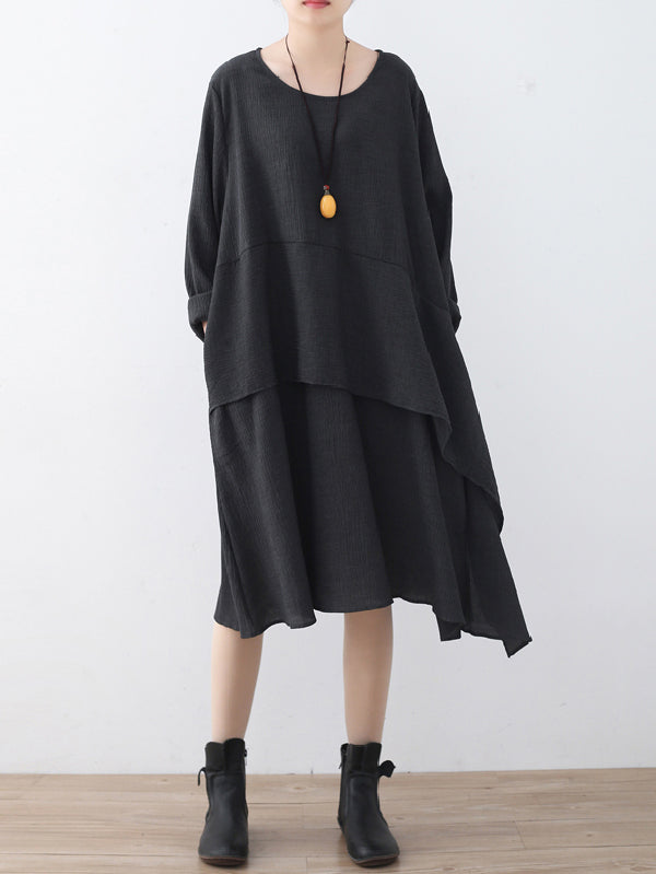 Black Split-joint Round-neck Linen Dress