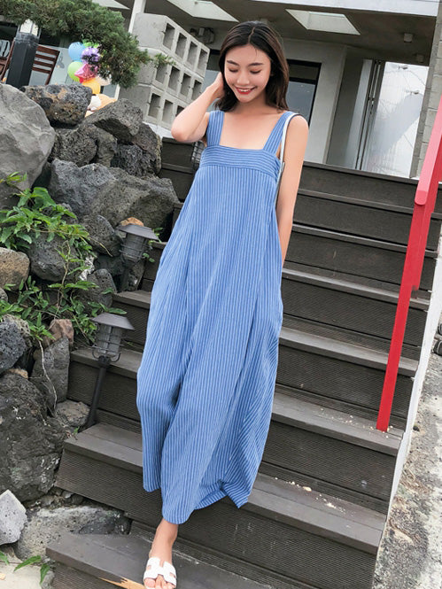 Blue Striped Sleeveless Wide Leg Jumpsuits