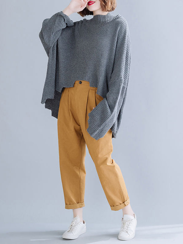 High-neck Cropped Batwing Sleeves Knitting Sweater