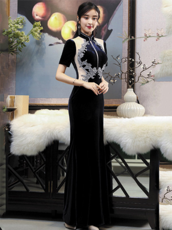 Stand Collar Beaded Split-side Corduroy Long Cheongsam