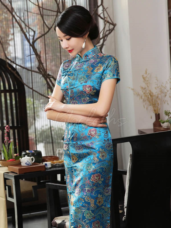 Vintage Floral Printed Long Cheongsams
