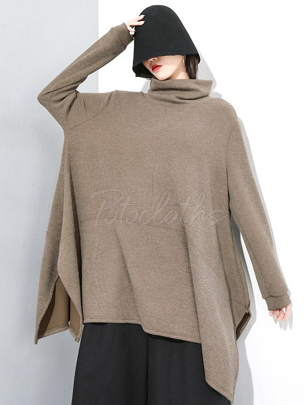 Solid Cropped Hem High Collar Knitting Sweatshirt