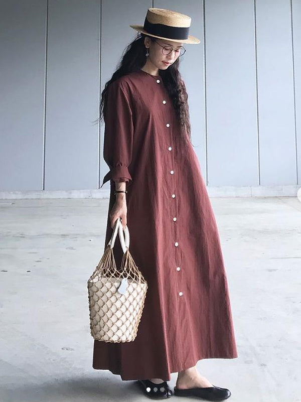 Burgundy Casual Long Sleeves Long Dress